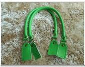 a pair of 21 inch green cow leather purse handles bag handles with sewing hole,bag handle, handbag handle,handbag making supplies
