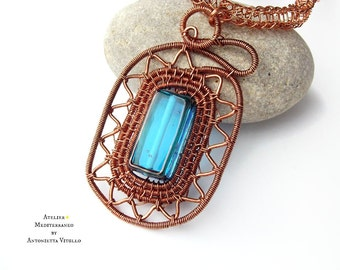 Wire Wrapped Copper Necklace With Beautiful Large Blue Glass Bead.