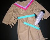 Girl's Native American Indian Costume, Size 3/4, Ready to Ship