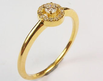 Diamond Engagement Ring, Tention Swing Design, 18K