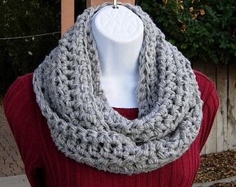 Light Silver Gray INFINITY SCARF, Solid Gray Crochet Cowl, Light Grey Loop Scarf, Acrylic Knit Scarf, Soft Winter Scarf..Ships in 2 Days