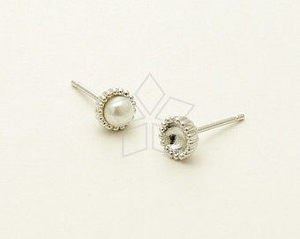 SI-654-OR / 4 Pcs - Tiny Acorn Cap Stud Earrings for Half Drilled Pearls, Silver Plated, with .925 Sterling Silver Post / 5.5mm