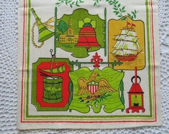Vintage New Kitchen Dish Towel Early America Print Liberty Bell Tall Ship Lantern Linens Stamped16 x 28