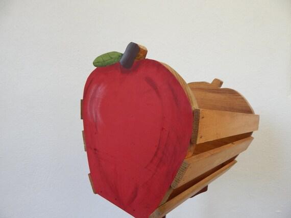 Apple Basket, Wooden Apple Basket, Primitive Apple Basket, Rustic Basket, Rustic Decor, Apple Decor, Wooden Basket, Apple Kitchen Decor,