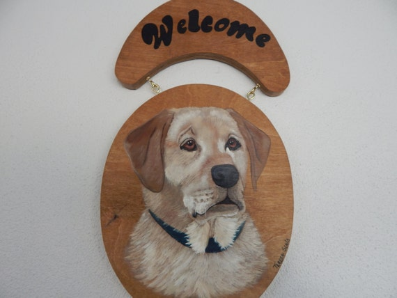 Dog Sign, Yellow Lab Sign, Labrador Retriever Welcome Sign, Hand Painted Yellow Lab sign for front door,Yellow Lab Painting, Lab Art