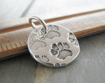 Personalized Pawprint Pendant, Fine and Sterling Silver, Handstamped and Engraved by SilverWishes