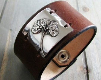 On Sale, Bloom, Fine Silver and Leather Cuff, Natural Plant Reproduction, Wildflower, Handmade by SilverWishes