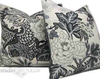 Schumacher Pillow Cover - TWO - Chiang Mai Dragon - Smoke -  20X20 - Decorative pillow Covers - decorative pillow cover   - ready to ship