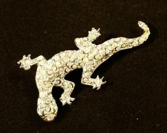 Rhinestone Lizard Brooch, Art Deco Jewelry, Vintage Jewelry, Rhinestone Jewelry, Art Deco Brooch, Rhinestone Brooch, Salamander Figural Pin