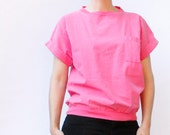 Vintage 80's dolman sleeve pink top, pocket T, loose fit, waistband, dark pink - Medium