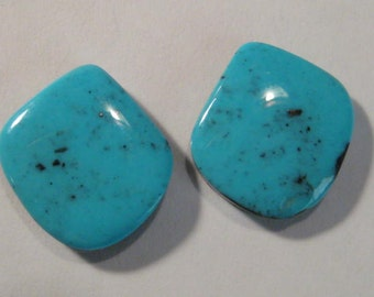 Campitos Turquoise cab set   ....  earring pair  ....  18 x 16 x 4.7 mm           ..... B2427