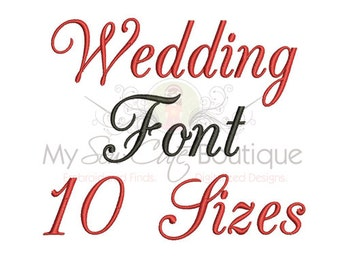 Wedding Machine Embroidery Fonts - 10 Sizes - BX Embroidery Font Included