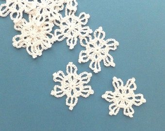 Crochet snowflake ornaments - gift wrapping decor - Christmas ornaments - small snowflakes applique - Christmas decorations - set of 9 ~2 in