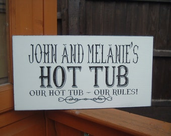 Shabby chic personalised wooden hot tub sign plaque