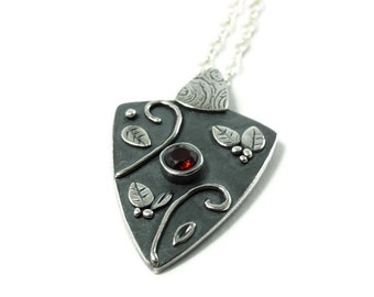 Silver & Almandine Garnet Talisman Necklace Worn on The Vampire Diaries By Bonnie on Episodes 413, 414, and 415