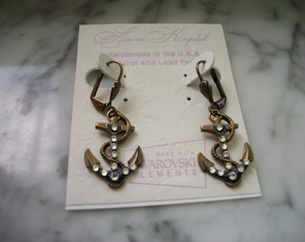 Anne Koplik Anchor Leverback Earrings NOS