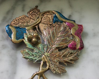 Stamped Metal Collage Brooch/Pin
