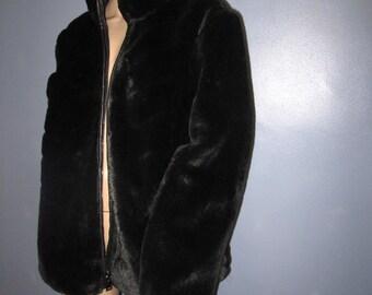 Black Fur Coat.  Black Faux Fur Coat.  Reversible Fur Coat.