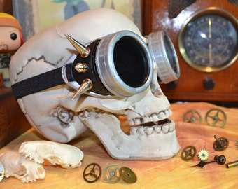 Chrome and Black Spiked Mad Max Industrial Steampunk Goggles