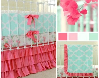 Mint and Pink Baby Bedding Set for Standard Crib featuring Shabby Chic and Modern Prints for a Vintage Inspired Custom Nursery