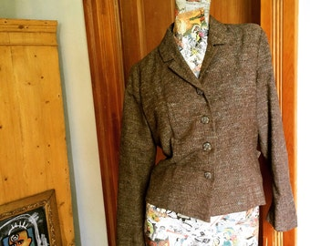 60s Brown Tweed Jacket                         International Shipping