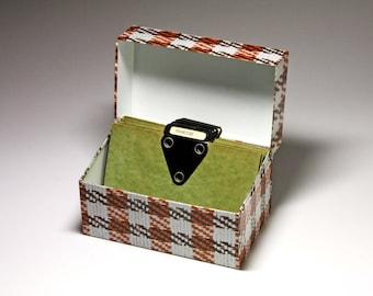 Vintage Metal Recipe Box in Tweed Pattern with Dividers - circa 1960's