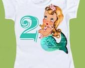 Mermaid Birthday Party, Customized Free, Mermaid Party T Shirt, Retro Beach Party, Retro Mermaids Birthday toddler, tshirts ChiTownBoutique