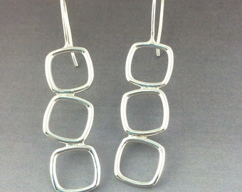 3 stacked Square dangle Sterling Silver Earrings, light weight easy to wear Sterling Earrings with sterling french wires