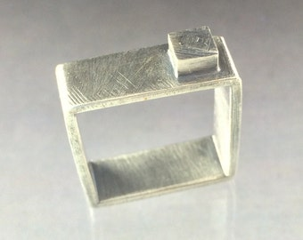 Square Sterling Silver Ring, Man or Woman's modern Wedding Ring, Man's Silver Square Ring, women's Silver Square Ring, Made to Order