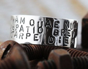 Personalized Wedding Band Man Ring Hand Stamped Silver Jewelry