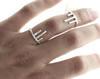 Dripping Sterling Ring Set - Unattached Ring Armor - Made to Order - Two Rings