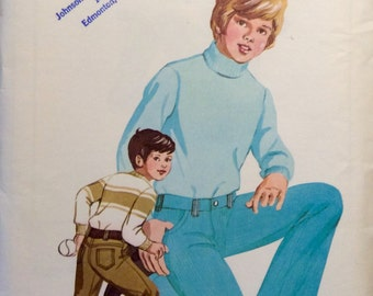 Vintage Sewing Pattern 1970s Boys Classic Jeans 1973 Flared Topstitched Pockets Size 4-6-8-10 Uncut Kwik Sew
