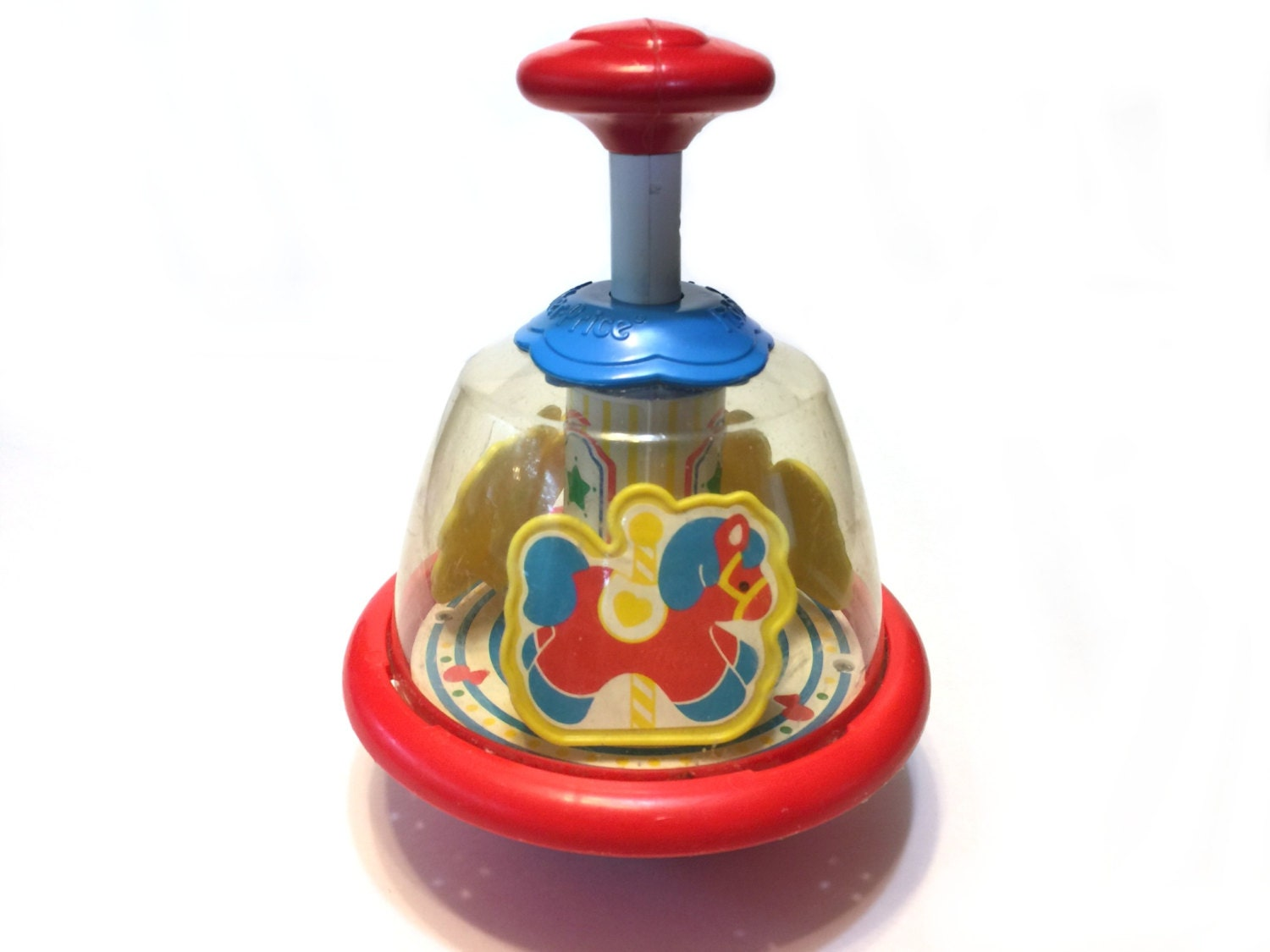Toy Spinning Top : Vintage fisher price toy s red spinning top