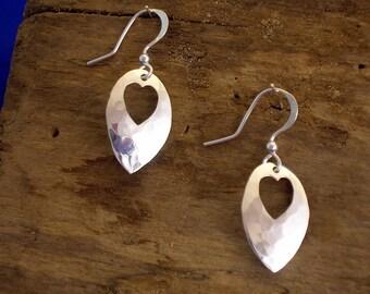 Heart Earrings,Heart Jewellery, Handmade, Sterling Silver, Hammered Silver, Hearts,  Heart Drops, Planished, Heart Gift. Romantic Gift