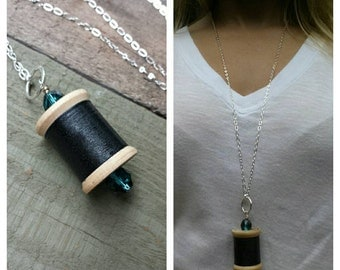 Vintage wooden spool necklace, upcycled recycled repurposed, wooden spool