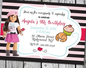 American Girl Grace Girl of the Year Tea Party Invite Invitation - Cupcakes and Croissants - pink black magenta Paris France 7 x 5 printable