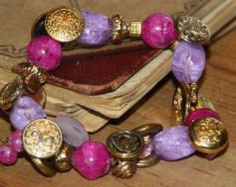 Upcycled Bead Button Bracelet Purple Beads