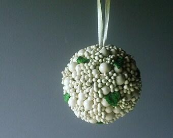 Vintage MISTLETOE Kissing Ball - White Elegance with Grn Leaves