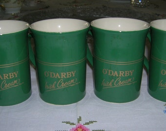 4 Vintage O'Darby Irish Cream Coffee Mugs Coloroll England