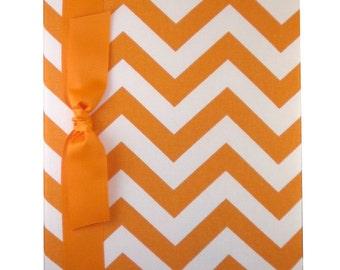 Tight Bound Baby Memory Book - Orange and White Chevron Stripe