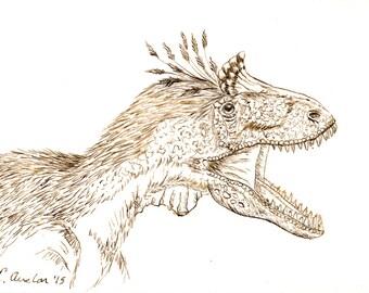 Original ACEO Dinosaur ACEO Pen and Ink ACEO Art Card Ink Drawing Dinosaur Drawing Collectible Art Miniature Art Unframed Art Dinosaur Art