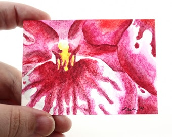 ACEO Print Flower ACEO Limited Edition Art Card Watercolor ACEO Flower Painting Collectible Art Miniature Art Unframed Art Flower Art
