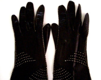 Vintage 50s 60s Black Leather Gloves with White Decorative Stitching - Ladies Black Leather Gloves - Black Dress Gloves - Small to X Small