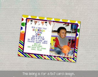 Primary Sports Themed Birthday Invitation