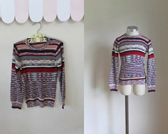 vintage 1970s child's sweater - AUTUMN SUNSET space dye knit top / 7yr