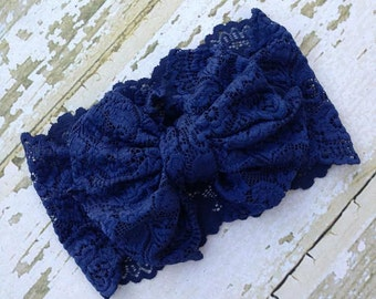 Navy Lace Messy Bow Head Wrap