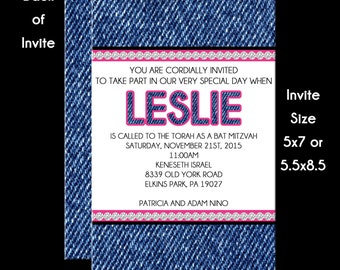 Denim and Diamonds Bat Mitzvah Invitation USE for ANY Event RSVP Reply Card Insert Card Thank You Note