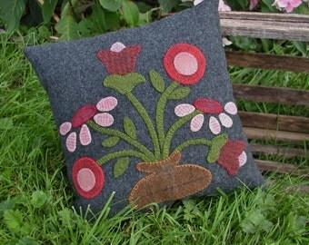 Primitive Red Flower Wool Pillow Folk Art Pillow
