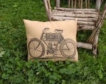 Vintage Motorcycle Steampunk Pillow