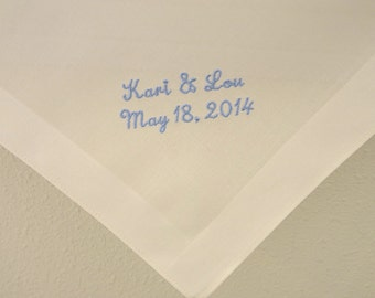 Ivory Color Fine Cotton Men's Handkerchief with Bride and Groom's Names and  Date